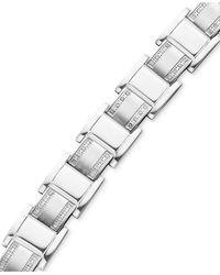 Macy's Men's Stainless Steel Bracelet, Diamond Square Link (3/4 Ct. T.w.) - Multicolour