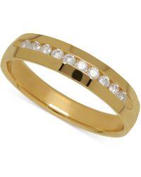 Macy's - Men's Diamond Band In 14k Yellow Gold (1/4 Ct. T.w.) - Lyst