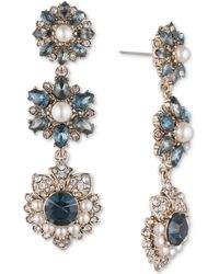 Marchesa - Gold-tone Crystal, Stone & Imitation Pearl Linear Drop Earrings - Lyst