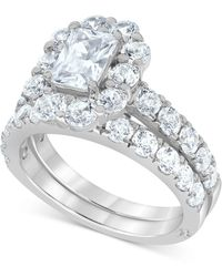 Marchesa Certified Diamond (4 Ct. T.w.) Emerald Halo Bridal Set In 18k White, Yellow Or Rose Gold