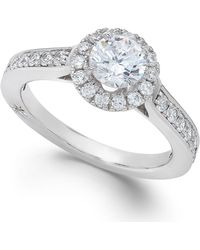 Marchesa - Estate Halo By Certified Diamond Engagement Ring In 18k White Gold (1-1/4 Ct. T.w.), Created For Macy's - Lyst