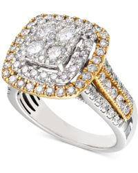 Macy's Diamond Two-tone Square Halo Cluster Engagement Ring (2 Ct. T.w.) In 14k Gold & White Gold - Metallic