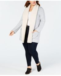 Style & Co. - Plus Size Fleece-collar Open Cardigan, Created For Macy's - Lyst