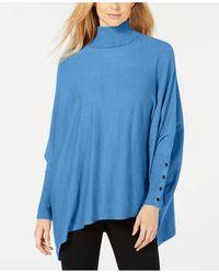Alfani Turtleneck Poncho Sweater, Created For Macy's - Blue