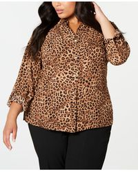 Charter Club Plus Size Animal-print Shirt, Created For Macy's - Brown