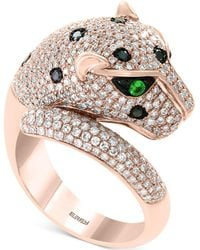 Effy Collection Effy® Diamond (1-1/2 Ct. T.w.) & Tsavorite Accent Panther Ring In 14k Rose Gold - Metallic