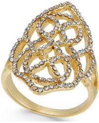 INC International Concepts - Gold-tone Pavé Statement Ring - Lyst