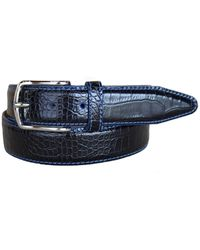 Lejon Anzio Italian Calfskin Embossed Alligator Print Leather Dress Belt - Black