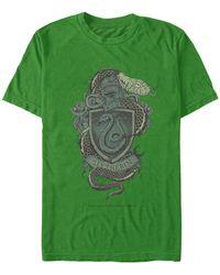 Fifth Sun Hogwarts Slytherin House Crest Short Sleeve T-shirt - Green