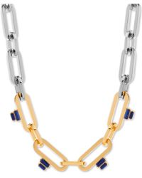 """Steve Madden Two-tone Stone Linked 16"""" Collar Necklace - Metallic"""