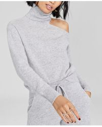 Charter Club Cashmere Cold-shoulder Turtleneck Sweater, Created For Macy's - Grey
