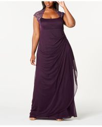 Xscape - Plus Size Ruched Lace Gown - Lyst