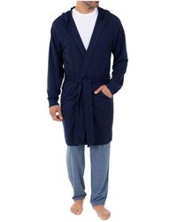 Izod Hooded French Terry Knit Robe - Blue