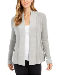 Charter Club Petite Cotton Cropped Cardigan, Created For Macy's - Gray