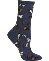 Hot Sox Dogs Fashion Crew Socks - Blue