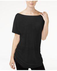 RACHEL Rachel Roy - Ruched Boat-neck T-shirt - Lyst