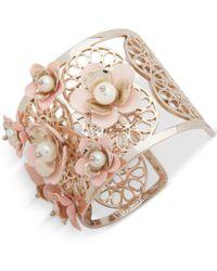 Ivanka Trump - Gold-tone Imitation Pearl & Flower Cuff Bracelet - Lyst