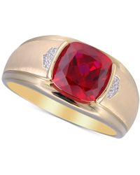 Macy's Lab-created Ruby (5 Ct. T.w.) & Diamond Accent Ring In 10k Gold - Metallic