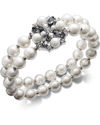 Charter Club - Silver-tone Imitation Pearl, Stone & Crystal Double Row Stretch Bracelet, Created For Macy's - Lyst