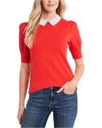 Cece Petite Collared Puff-sleeve Sweater