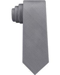 DKNY Geometric Neat Slim Silk Tie - Gray