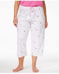 Hue Plus Size Printed Capri Pajama Pants - White