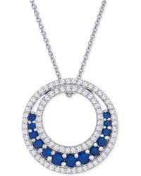 """Macy's - Lab-created Sapphire (1-1/5 Ct. T.w.) & White Sapphire (3-1/2 Ct. T.w.) Circle 18"""" Pendant Necklace In Sterling Silver - Lyst"""