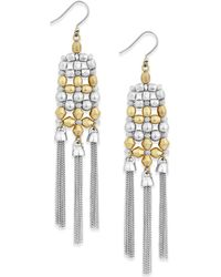 Lucky Brand   Two-tone Chain Fringe Drop Earrings   Lyst