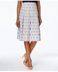 Charter Club Cotton Printed Skirt - White