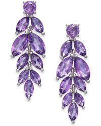 Macy's Amethyst Vine Drop Earrings (5-3/4 Ct. T.w.) In Sterling Silver (also Available In Blue Topaz, Garnet And Peridot) - Purple