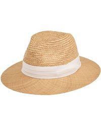 San Diego Hat Company Raffia Braid With Bao Straw Brim Fold Band Fedora - Natural