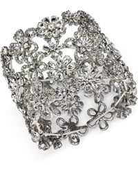 INC International Concepts - I.n.c. Silver-tone Crystal Flower Wide Stretch Bracelet, Created For Macy's - Lyst