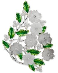 Anne Klein Silver-tone Green Floral Crystal & Imitation Pearl Boxed Pin