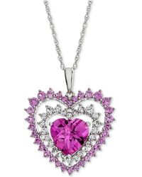 Macy's - Lab-created Pink Sapphire (2-3/4 Ct. T.w.) & White Sapphire (1/2 Ct. T.w.) Heart Pendant Necklace In Sterling Silver - Lyst