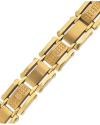 Macy's Men's Single-cut Diamond Bracelet In Stainless Steel And Yellow-ion Plating (1/10 Ct. T.w.) - Metallic