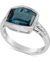 Macy's - Blue Topaz (4-1/2 Ct. T.w.) & Diamond Accent Ring In 14k White Gold - Lyst