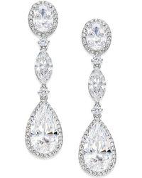 Danori - Silver-tone Oval Crystal Drop Earrings - Lyst