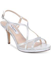Nina Blossom Strappy Embellished Evening Sandals - Metallic