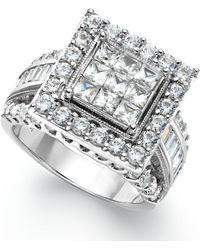 Macy's Diamond Square Engagement Ring In 14k White Gold (3 Ct. T.w.) - Metallic
