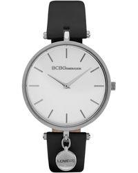 BCBGeneration 2 Hands Slim Black Genuine Leather Band Watch 36mm