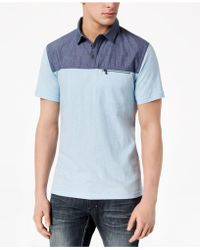 INC International Concepts Colorblocked Cotton Polo, Created For Macy's - Blue