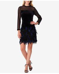 Tahari - Illusion Velvet Feather Dress - Lyst