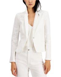 INC International Concepts Inc Puff-sleeve Denim Blazer, Created For Macy's - White