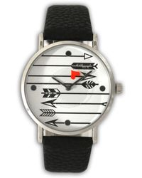 Olivia Pratt Love Arrows Leather Strap Watch - Black