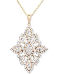 "Wrapped in Love - Diamond (1 Ct. T.w.) Geometric Pendant Necklace In 14k Gold, 16"" + 4"" Extender, Created For Macy's - Lyst"