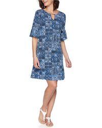 Ruby Rd. Plus Size Bead Batik Puff Dress - Blue