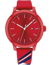 Tommy Hilfiger Red Silicone Strap Watch 38mm, Created For Macy's