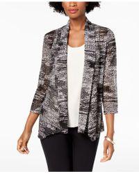 Kasper - Draped-front Printed Knit Cardigan Jacket - Lyst