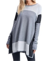 Fever Colorblock Poncho - Gray