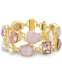 Catherine Malandrino - Light Pink Clear And Pastel Pink 2-row Yellow Gold-tone Link Bracelet - Lyst